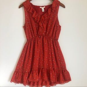 Red Flowered Peasant Dress